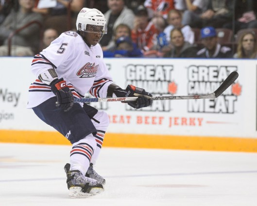 Former Oshawa Generals defenseman Jalen Smereck apparently impressed at Arizona Coyotes camp (Photo by Aaron Bell/OHL Images).