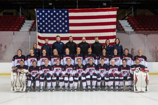 USA Hockey National Women's U-22 team. Kelsey Koelzer. second row, fifth from the right. (Photo/Nancie Battaglia).