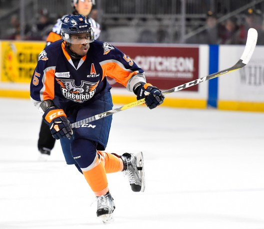 Flint Firebirds defenseman Jalen Smereck, Detroit native, works out with Jason McCrimmon during the summer. Smereck thinks McCrimmon is college or major junior coaching material (Photo/Aaron Bell/OHL Images).