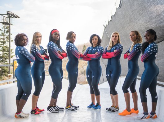 The U.S. Women's Bobsled National Team. Left to Right, Kehri Jones, Brittany Reinbolt, Aja Evans, Lauren Gibbs, Elana Meyers Taylor, Lolo Jones, and Briauna Jones (Photo/Molly Choma/USA Bobsled & Skeleton).