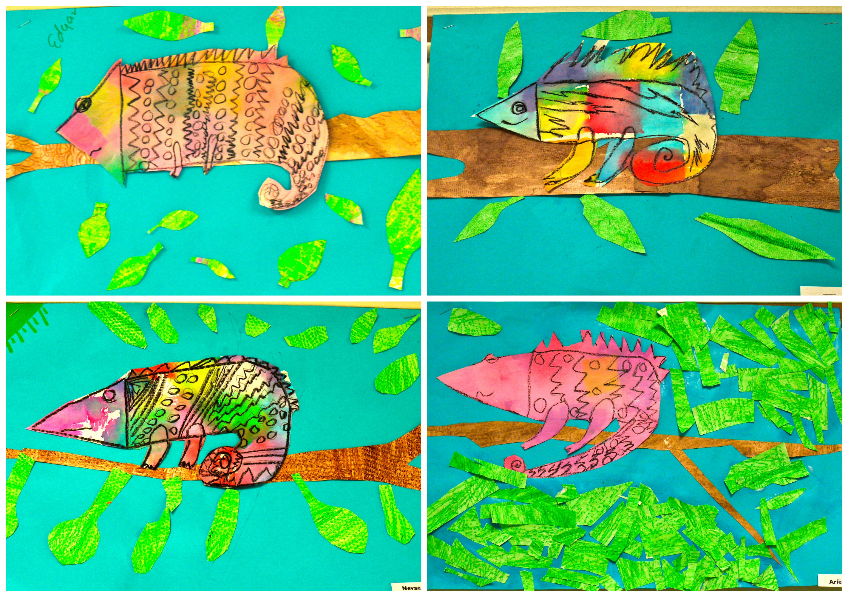 2nd Grade Colorful Chameleon Collages