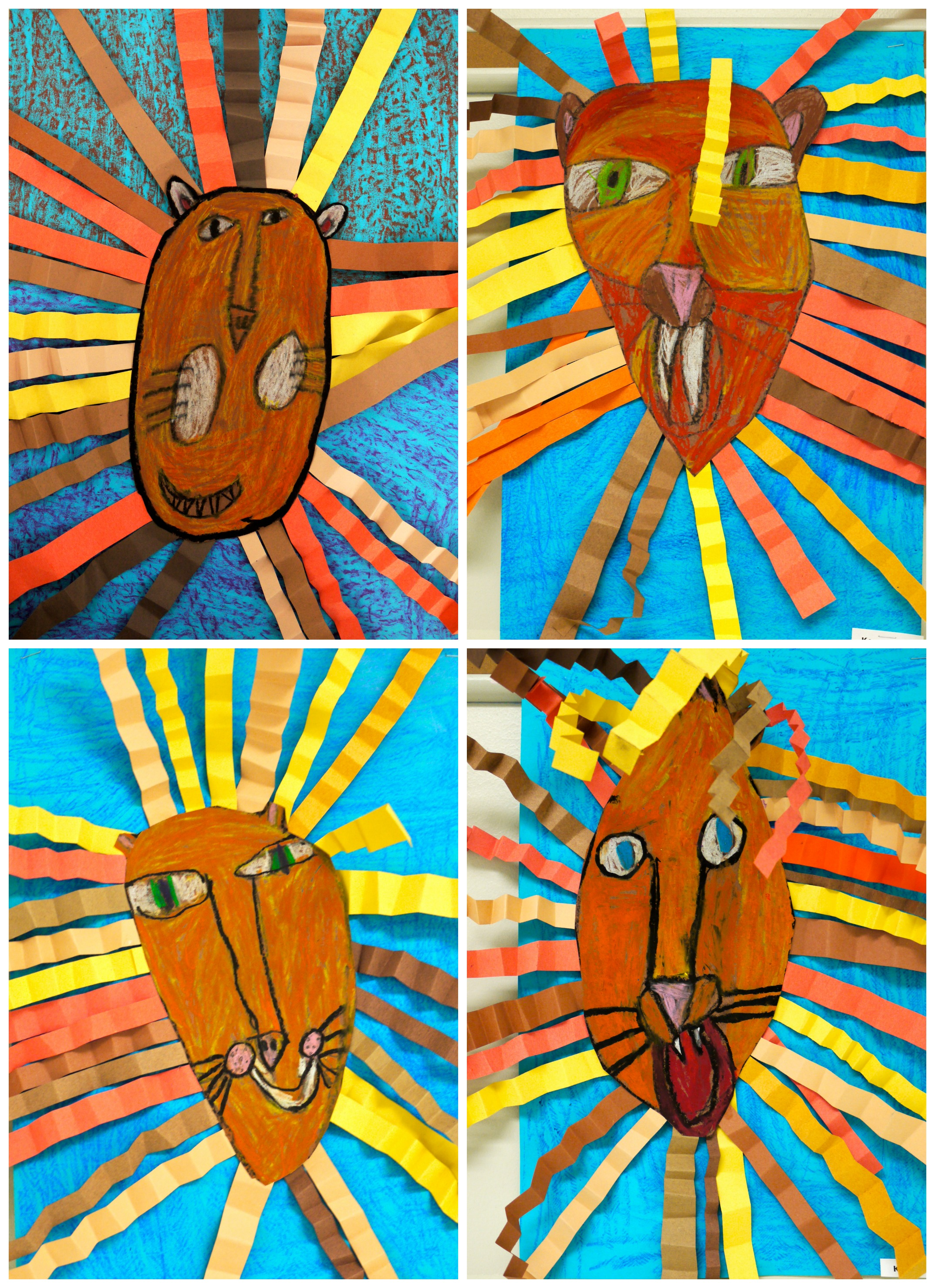 1st Grade Oil Pastel Lion Collages