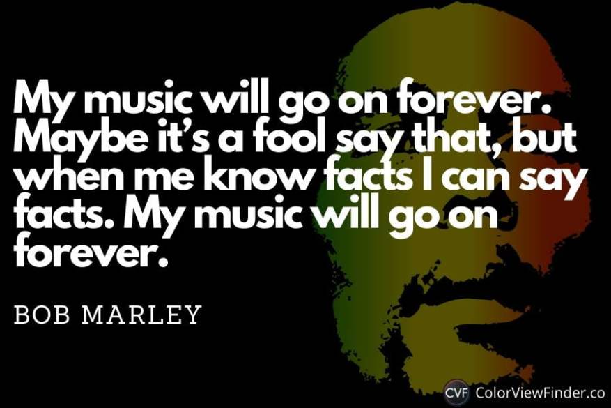 My music will go on forever. Maybe it's a fool say that, but when me know facts I can say facts. My music will go on forever.