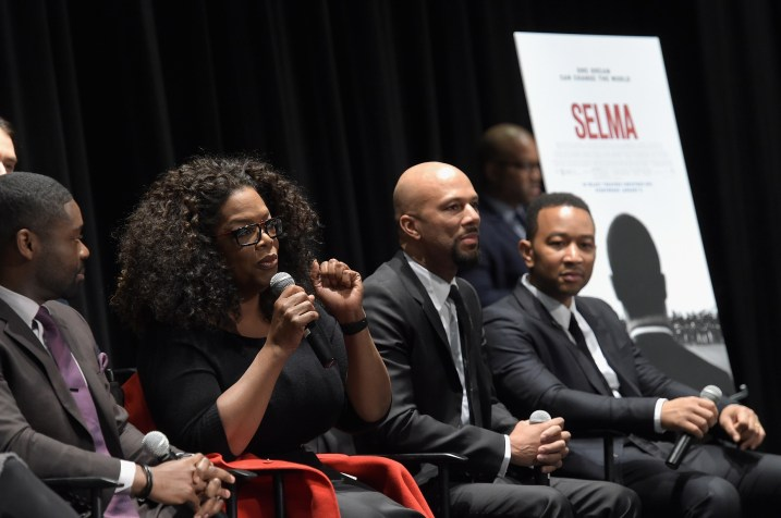 SELMA, AL - JANUARY 18: EDITORIAL USE ONLY- (L-R) David Oyelowo, Oprah Winfrey, Common and John Legend address the audience at the Selma High School Q&A event on January 18, 2015 in Selma, Alabama. (Photo by Rick Diamond/Getty Images for Paramount Pictures) *** Local Caption *** David Oyelowo; Oprah Winfrey; Common; John Legend