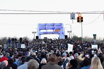 SELMA, AL - JANUARY 18: EDITORIAL USE ONLY The 2015 commemorative march on the Edmund Pettus Bridge on January 18, 2015 in Selma, Alabama. (Photo by Paras Griffin/Getty Images for Paramount Pictures)