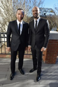 SELMA, AL - JANUARY 18: EDITORIAL USE ONLY John Legend and Common attend a day-long celebration to honor Dr. Martin Luther King, Jr. and Selma, AL, presented by Paramount Pictures on January 18, 2015 in Selma, Alabama. (Photo by Paras Griffin/Getty Images for Paramount Pictures) *** Local Caption *** John Legend; Common