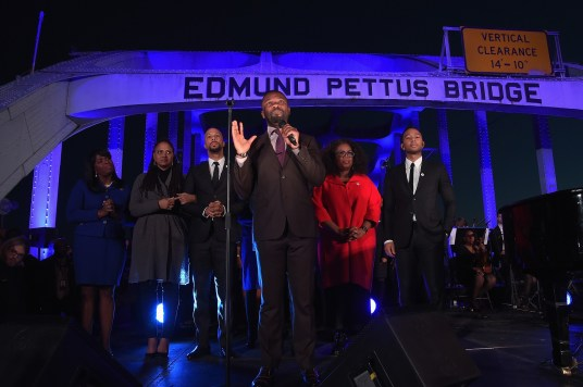 SELMA, AL - JANUARY 18: (L-R) Congresswoman Terri Sewell, Ava DuVernay, Common, David Oyelowo, Oprah Winfrey, and John Legend address the audience at a special performance on January 18, 2015 in Selma, Alabama. (Photo by Rick Diamond/Getty Images for Paramount Pictures) *** Local Caption *** Ava DuVernay; Common; David Oyelowo; Oprah Winfrey; John Legend