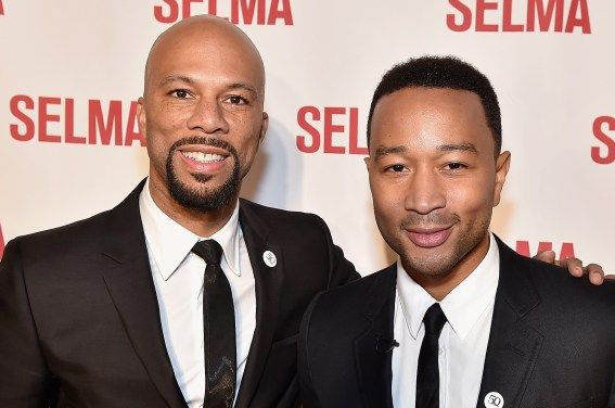 "SELMA, AL - JANUARY 18: EDITORIAL USE ONLY Common and John Legend attend a special screening of ""Selma,"" presented by Paramount Pictures on January 18, 2015 in Selma, Alabama. (Photo by Paras Griffin/Getty Images for Paramount Pictures) *** Local Caption *** Common; John Legend"