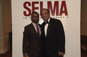 SELMA, AL - JANUARY 18: EDITORIAL USE ONLY- David Oyelowo and Mayor George Evans attend a special screening of Selma on January 18, 2015 in Selma, Alabama. (Photo by Rick Diamond/Getty Images for Paramount Pictures) *** Local Caption *** David Oyelowo; George Evans