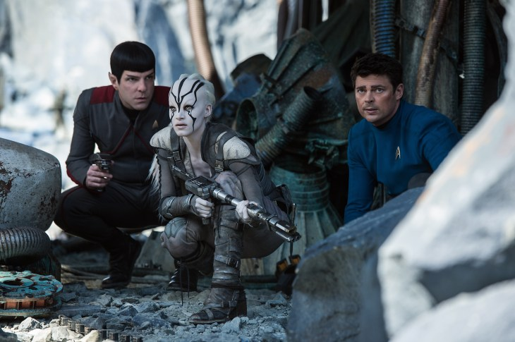 Left to right: Zachary Quinto plays Spock, Sofia Boutella plays Jaylah and Karl Urban plays Bones in Star Trek Beyond from Paramount Pictures, Skydance, Bad Robot, Sneaky Shark and Perfect Storm Entertainment