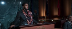 T'Challa stands in front of the UN Assembly.
