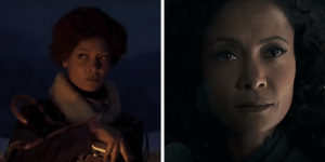 Thandie Newton as Val, sitting by a campfire in Solo: A Star Wars Story and as Maeve in Westworld Season 2