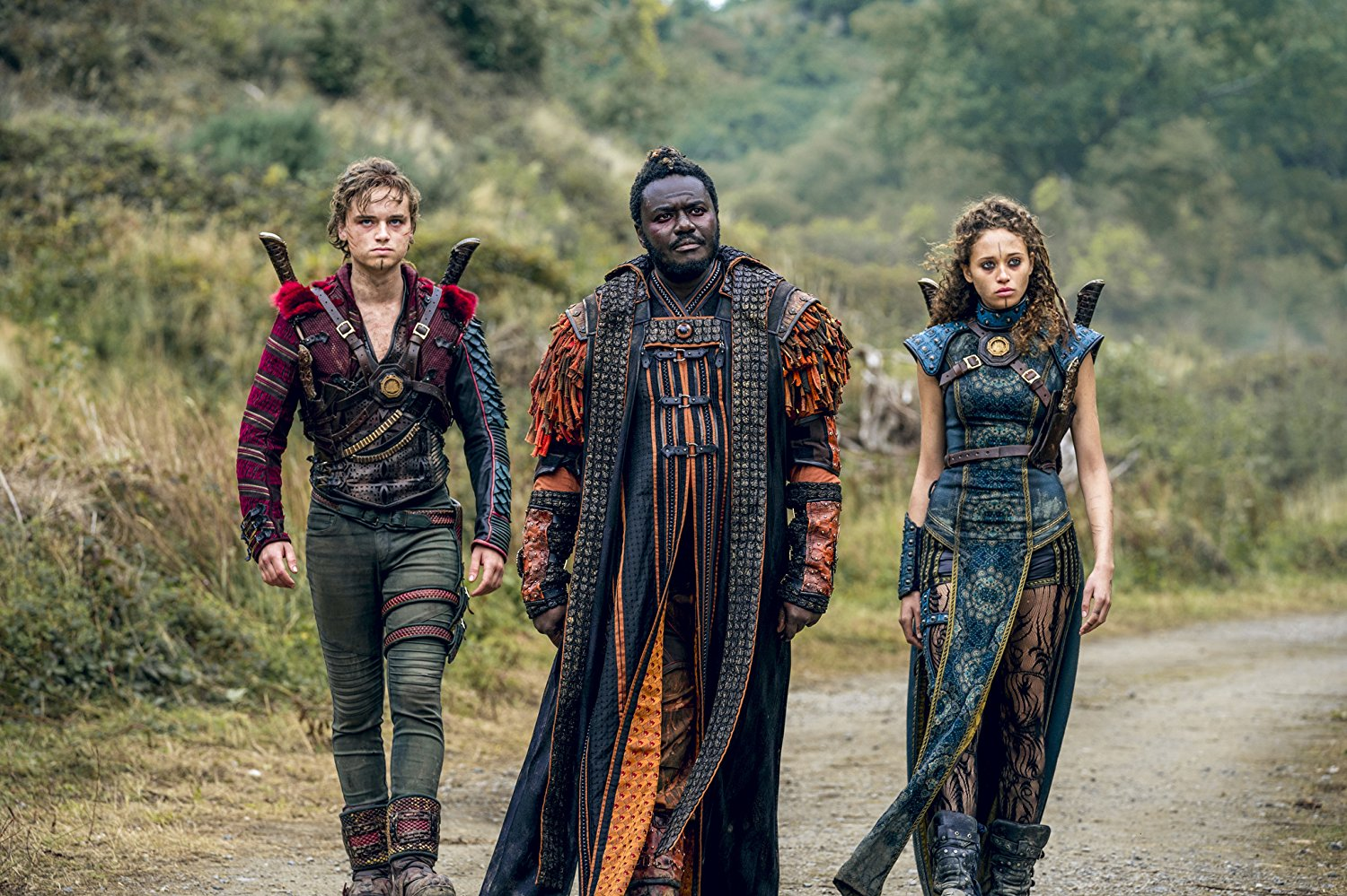 Babou Ceesay (center), Dean-Charles Chapman (left), and Ella-Rae Smith (right) in Into the Badlands