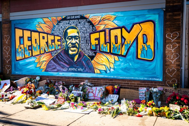 beautiful graffiti mural honoring george floyd from black lives matter protest. Revolution.
