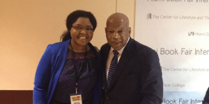 Monique and John Lewis at the Miami Book Fair 2013.