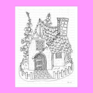 Fairy Cottage and Foxglove Coloring Page