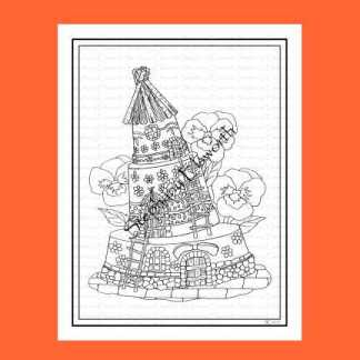 Flowerpot Fairy House Coloring Page
