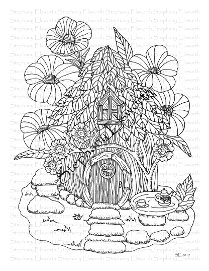 Wood and Leaf Fairy House Coloring Page