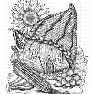 Cornucopia and Pumpkin Fairy House