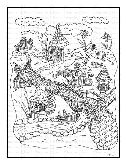 Fairy Village Coloring Page
