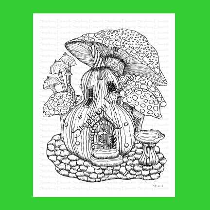Gourd and Mushrooms Fairy House Coloring Page