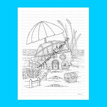 Seashell Fairy Beach House Coloring Page