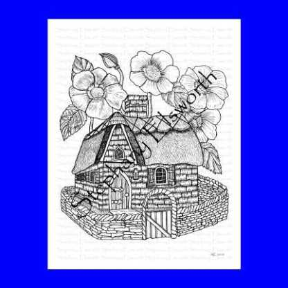 Stone and Thatch Fairy House Coloring Page