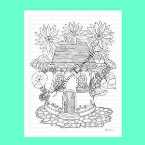 Watering Can Fairy House Coloring Page