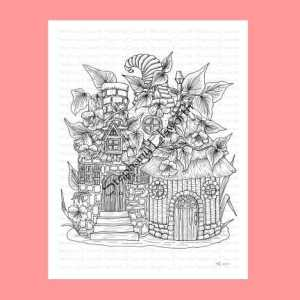 Bottle Fairy Houses Coloring Page