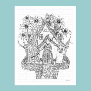 Butterfly Garden Fairy Cottage Coloring Page