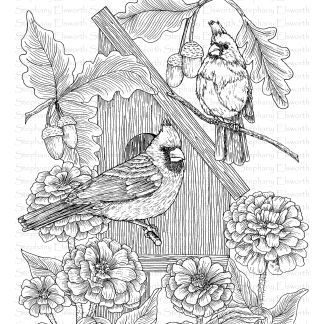 Cardinals and Zinnias Coloring Page