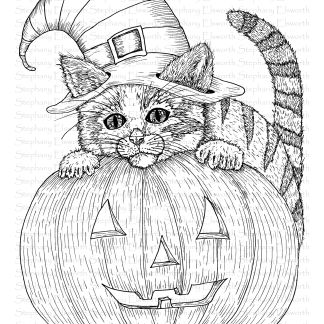 Kitten and Pumpkin Coloring Page