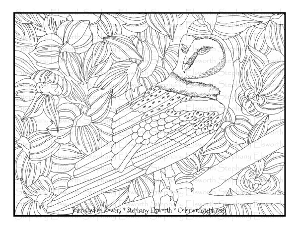 Barn Owl in Flowers Coloring Page