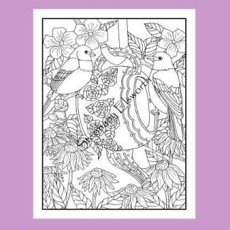Buntings, Coneflower and Apple Blossoms Coloring Page