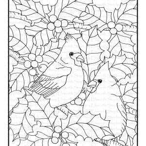 cardinals and holly branches