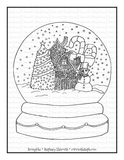 Winter Snowglobe Free Coloring Page