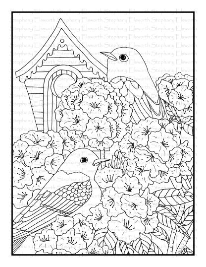 Bluebird and Rhododendron