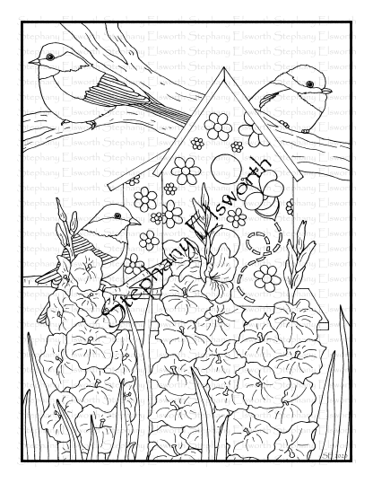 Chickadees and Gladiolus Coloring Page