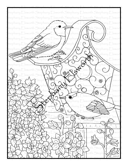 Warbler and Larkspur Coloring Page
