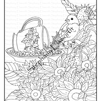 Bluebird and Sunflowers Coloring Page
