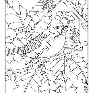 Cardinal and Holly Coloring Page