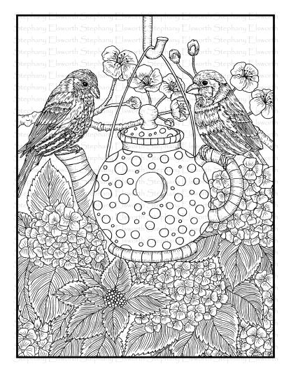 Finches and Hydrangea