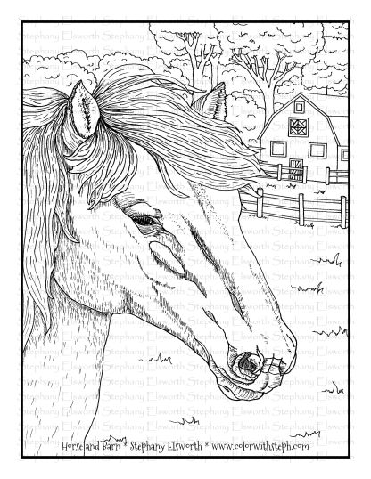 Horse and Barn Coloring Page