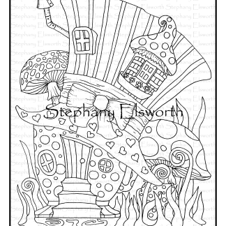 Mad Hatter Tea Party Fairy House Coloring Page