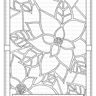Stained Glass Poinsettias Coloring Page