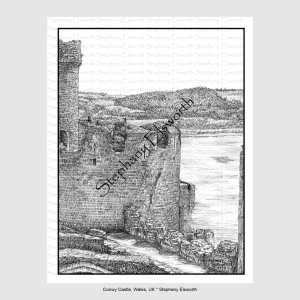 Conwy Castle Grayscale Coloring Page