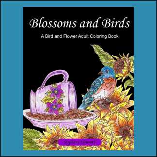 Blossoms and Birds PDF Coloring Book and Single Coloring Pages