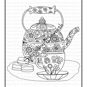 Tea and Macarons free coloring page