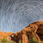 Star Trails over Double Arch