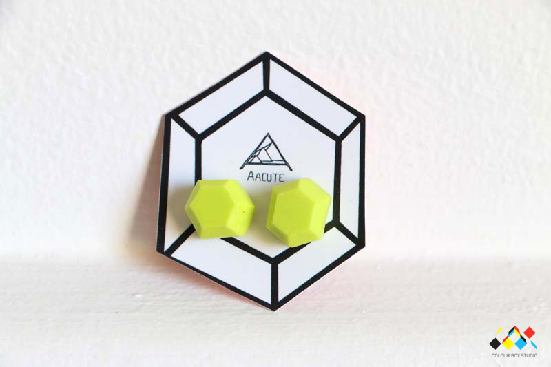 Aacute Earrings Lime Green Geometric - Colour Box Studio Online Shop